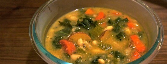 White Bean + Kale Soup: CrockPot Recipe